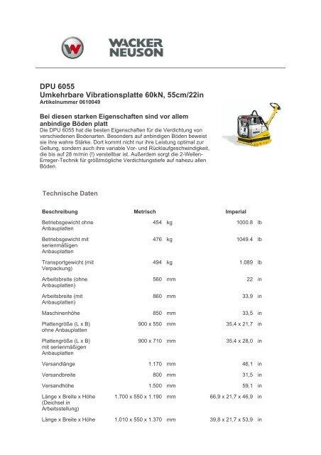 DPU 6055 Umkehrbare Vibrationsplatte 60kN, 55cm/22in