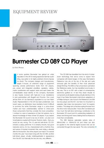 Product information 089 CD Player