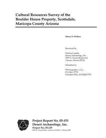Cultural Resources Survey of the Boulder House Property - Desert ...