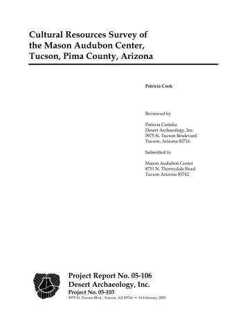 Cultural Resources Survey of the Mason Audubon Center, Tucson ...