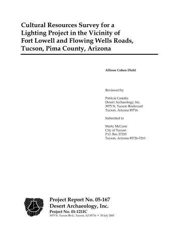 Cultural Resources Survey for a Lighting Project in the Vicinity of ...