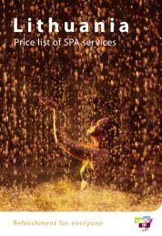 Price list of SPA services