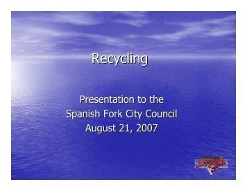 Recycling Program - Spanish Fork