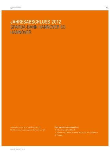 JAHRESABSCHLUSS 2012 SPARDA-BANK HANNOVER EG ...