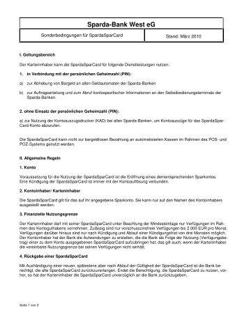 Sonderbedingungen für SpardaSparCard - Sparda-Bank West eG