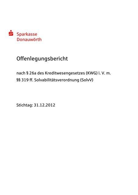 Offenlegungsbericht 2012 - Sparkasse Donauwörth