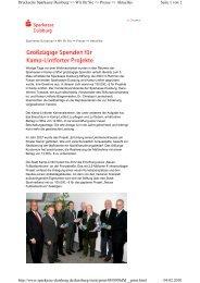 Großzügige Spende für Kamp-Lintforter Projekte - Sparkasse Duisburg