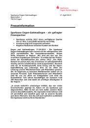 Bilanzpressekonferenz für das Geschäftsjahr 2012 - Sparkasse ...