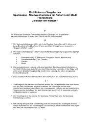 Richtlinien zur Vergabe des - Sparkasse Fröndenberg