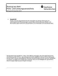 Auszug aus dem Preis - Sparkasse Gelsenkirchen