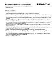 Kundeninformationen für eine RiesterRente Inhaltsverzeichnis