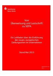 Von Überweisung und Lastschrift zu SEPA - Sparkasse Gera-Greiz