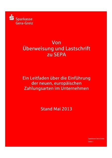 Von Uberweisung Und Lastschrift Zu Sepa Sparkasse Gera Greiz