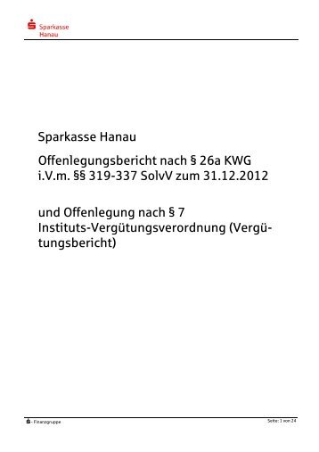 Offenlegungsbericht 2012 - Sparkasse Hanau