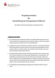 Vergabegrundsätze der Sozialstiftung der Kreissparkasse Heilbronn
