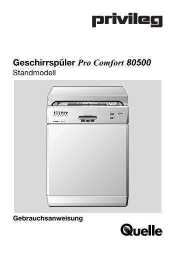 Gebrauchsanweisung Geschirrspüler Pro Comfort 80500