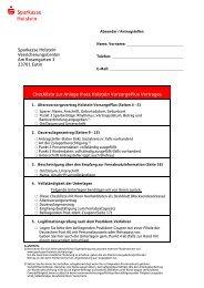 Checkliste zur Anlage Ihres Holstein VorsorgePlus Vertrages