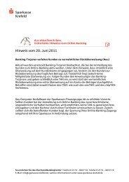 s Sparkasse Krefeld Hinweis vom 20. Juni 2011