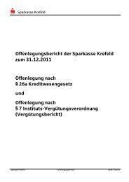 Offenlegungsbericht 2011 - Sparkasse Krefeld