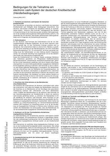 Bedingungen für die Teilnahme am electronic cash-System der ...