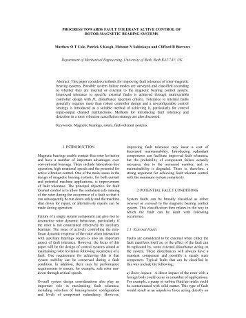 Progress towards fault-tolerant active control of rotor-magnetic ...
