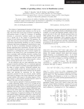 Stability of spiralling solitary waves in Hamiltonian systems
