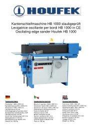 Kantenschleifmaschine HB 1000 staubgeprüft Levigatrice oscillante ...