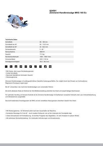 924501 Zimmerei-Handkreissäge MKS 165 Ec