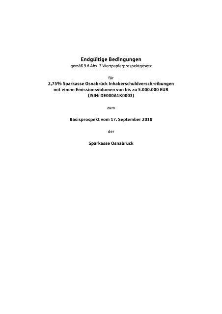 Entgültige Bedingungen - Sparkasse Osnabrück