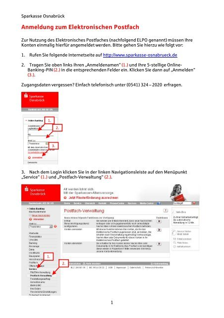 Anmeldung zum Elektronischen Postfach - Sparkasse Osnabrück