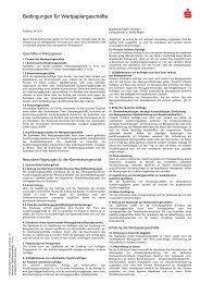 Bedingungen für Wertpapiergeschäfte - Sparkasse Regen-Viechtach