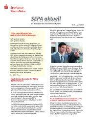 SEPA-Newsletter für Firmenkunden Nr. 6 - Sparkasse Rhein-Nahe