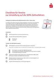 Checkliste SEPA-Umstellung für Vereine - Sparkasse Rhein-Nahe