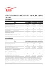 Tarifmerkmale Classic 2006, Varianten UR, SR, ER, AR, MR, TSR ...
