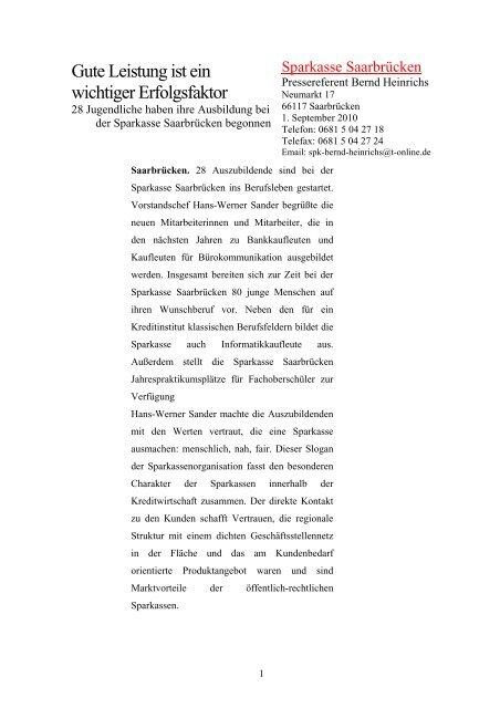 Gute Leistung ist ein wichtiger Erfolgsfaktor - Sparkasse Saarbrücken