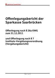 Offenlegungsbericht der Sparkasse Saarbrücken