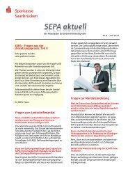 8. SEPA-Newsletter - Sparkasse Saarbrücken