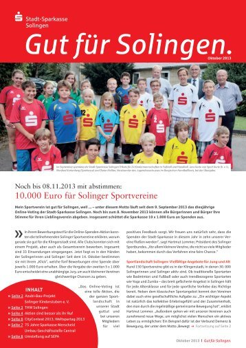 16. Ausgabe 10/2013 - Stadt-Sparkasse Solingen