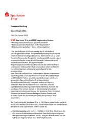Geschäftsentwicklung 2012 der Sparkasse Trier