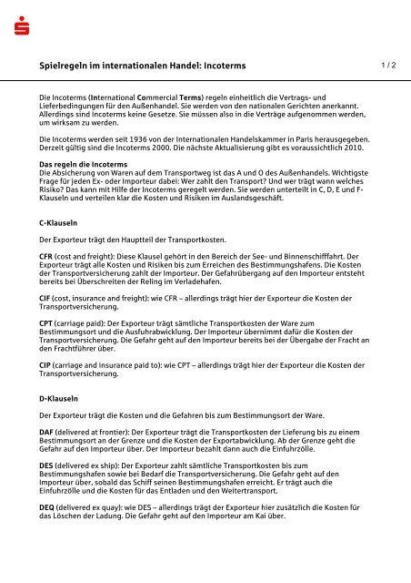 Spielregeln im internationalen Handel: Incoterms - Sparkasse Trier