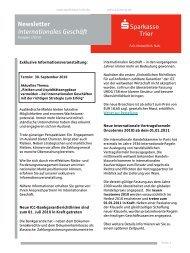 Newsletter Internationales Geschäft - Sparkasse Trier