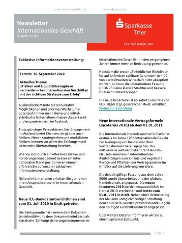Newsletter Internationales Geschäft - Sparkasse Trier