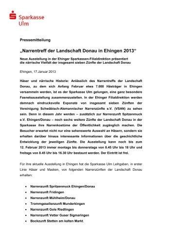 """""""Narrentreff der Landschaft Donau in Ehingen 2013"""" - Sparkasse Ulm"""