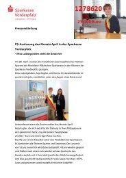 PS-Auslosung des Monats April in der Sparkasse Vorderpfalz