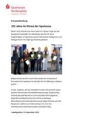 165 Jahre im Dienst der Sparkasse - Sparkasse Vorderpfalz