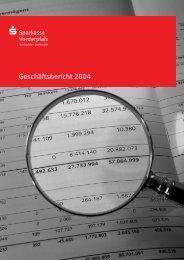 Geschäftsbericht 2004 - Sparkasse Vorderpfalz