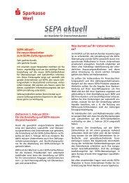 SEPA-Newsletter November 2012 - Sparkasse Werl
