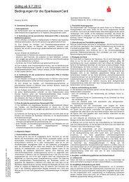 Bedingungen für die SparkassenCard Gültig ab 9.7.2012