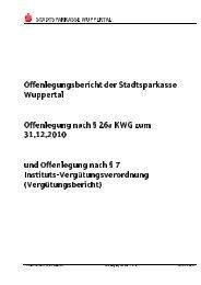 Offenlegungsbericht der Stadtsparkasse Wuppertal Offenlegung ...