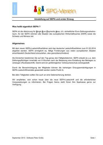 """Leitfaden """"SPG-Verein-SEPA"""""""